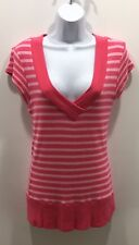 Rue 21 Pink Striped Short Sleeved Sweater Size L EUC
