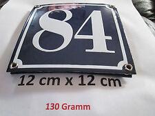 Hausnummer  Emaille Nr. 84  weisse Zahl auf blauem Hintergrund 12 cm x 12 cm