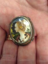 UNUSUAL ANTIQUE HAND-PAINTED PORTRAIT PIN / BROOCH / PENDANT. CLEOPATRA W ASPS?