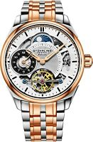 Stuhrling Men's Skeleton Rose Case Silver Dial Rose & Silver Bracelet Watch