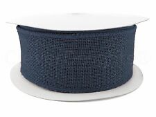 "2.5"" Navy Blue Burlap Ribbon - 25 Yds Wired / Finished Edges - Super-Fine Weave"
