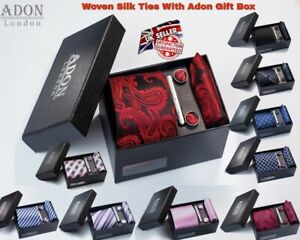 Woven Silk Feel Tie Set Cufflinks and Handkerchief Gift BOX For Wedding Party