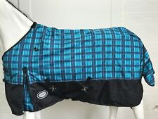 AXIOM 1800D BALLISTIC BLUE CHECK/BLK LIGHT (NO FILL)/FUR LINING HORSE RUG - 6' 0