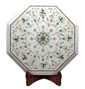 "12"" Marble Table Top Handmade Semi precious stones floral Art Work"