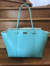 KATE SPADE Large Annelle Arbour Hill Tiffany Blue Leather Tote Shoulder Bag EUC