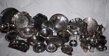 38 Pcs Antique  Silver Plate Trays  Dishes Platters TeaPots Creamer Sugar Bowls
