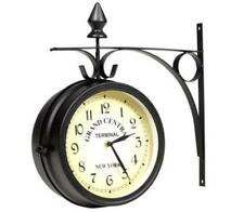Outdoor Garden Round Station Bracket Wall Clock 27cm Double Sided / Faced Black