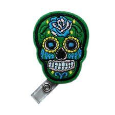 Retractable Applique Green Skull Flower Reels ID Card Clip Nursing Badge Holder