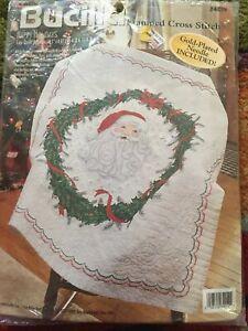 Bucilla Stamped Christmas Santa Wreath Lap Quilt Cross Stitch Kit 84019 Sealed