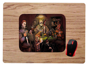 HORROR MOVIE CHARACTERS PLAYING POKER  MOUSE PAD HOME OFFICE GIFT GAMING