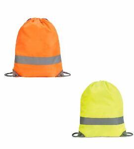 Hi Vis Bag Drawstring Tote Bag Hi Vis Orange or Yellow  Reflective strip SH5892