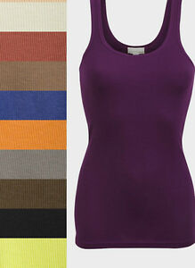 Ladies Womens Girls Ribbed LongerLine SKINNY RIB Vest Top Size Petite Uk 6-14