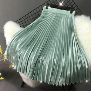 Womens Satin A-line Pleated Skirt Retro Stretch High Waist Flared Swing Dress @