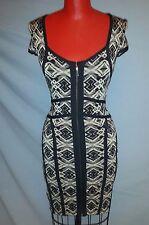 Arden B geometric body-con knit  sexy zip mini dress black/beige brown sz S 2-4
