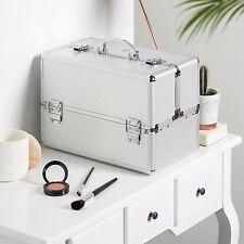 "Beautify Large Silver 14"" Train Case Cosmetic Makeup Organizer Storage Box"
