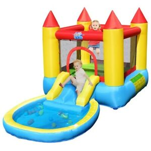 Safe Inflatable Bounce House Sliding Jumping Castle  Ball Pool +Bag Kid Toy Fun