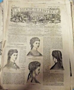 Ancienne Revue de Mode Illustrée 1869 n°33 Coiffures Broderie outils cravate