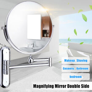 "8"" 10X Magnifying Bathroom Shaving Makeup Mirror Wall Mounted Adjustable Down Up"