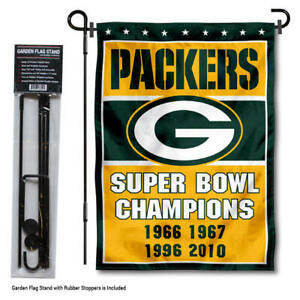 Green Bay Packers 4 Time Champions Garden Flag and Yard Stand Included