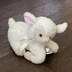 "Russ Berrie Tinker Sheep Lamb Plush with Silver Bell 9"" Cream Stuffed Animal"