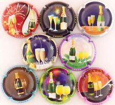 Série de 8 capsules de champagne génériques bonne année 2021