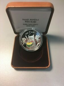 Latvia 2015 Silver 5 Euro Coin Fairytale Tale I Five Cats Colored Proof Awarded