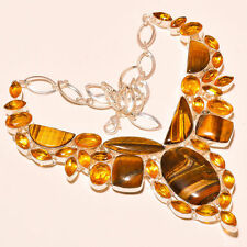 """BEAUTIFUL TIGER EYE & CITRINE TOPAZ .925 SILVER NECKLACE  18"""" FREE SHIPPING"""