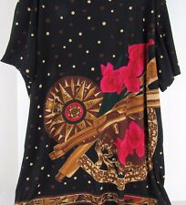 Western Connection Woman's M Short Sleeve Pull Over Knit Top Black Red Flower