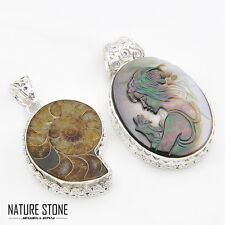 2 Pcs 1 Lot Genuine Ammonite Fossil & Carved Shell Gems Silver Necklace Pendants