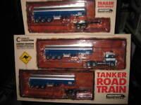 1:64 HIGHWAY REPLICAS  TANKER  ROAD TRAIN  TRUCK & TRAILER + 2nd TRAILER #12009
