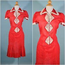 "Vintage 30s Red Sheer Ruffle Top & Skirt Glass Buttons 24"" Waist XS"
