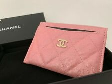 19S CHANEL Iridescent Pink Caviar Quilted Card Holder Rose Pink