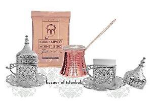 Turkish Coffee Set Cups Cezve Coffee, Silver Colour Porcelain Brass Copper- M02
