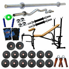 Fitfly 20Kg Weight &Home Gym Set 7 In 1 Bench 5Ft Plain + 3Ft Curl Rods All Acce