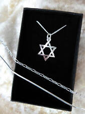 NECKLACE STERLING SILVER STAR OF DAVID PENDANT CHAIN