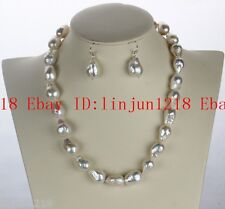 Natural rare 11-13mm White Baroque Pearl Necklace 18'' Earring AAA