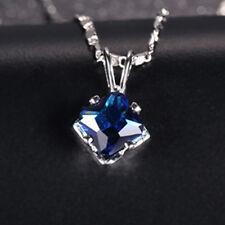 6mm Square Blue Sapphire Cubic Zirconia CZ Mini Pendant Free Necklace Xmas Gift