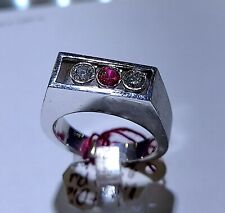 14kt  0.65ct Ruby and Diamond White Gold Mens Ring Band Moving Diamonds