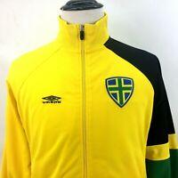 Umbro Warm-Up Jacket Mens Med  Zip Front Yellow Green Black Pockets Soccer