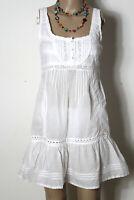 WAREHOUSE Kleid Gr. M weiß kurz Baumwolle Empire Mini Träger Kleid