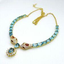 Blautopas Saphir CZ Collier Cobra 925er Silber 585er Gelbgold ca. 46 & 5 cm