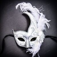 Ostrich Side feather Venetian Masquerade Costume Eye Mask Glitter Swan White