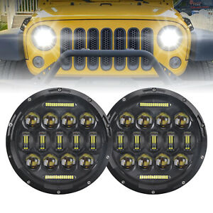 "Black 7"" Round Hi/Low LED Headlights Halo DRL For Jeep Wrangler JK TJ CJ 1997-17"