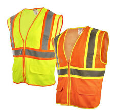 Reflective Safety Work Vest High Visibility Pockets Construction Traffic