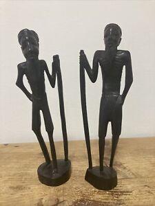 Antique Pair Ebony African Wooden Carvings Men Figures Figurines Art Design