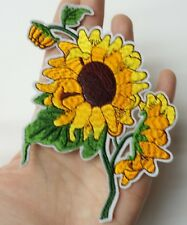 """Yellow Sunflower Patch Iron-On/Sew-On Embroidered 4.5"""" Applique"""