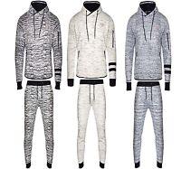 Mens Slub pattern fitted Jogging Full Tracksuit Fleece Hoodie Top Bottom