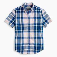 New J Crew Short Sleeve Secret Wash Heather Poplin Plaid Shirt Button Down NWT