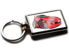 TOYOTA SUPRA Sports Car Koolart Chrome Keyring Picture Both Sides