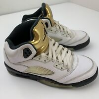 Air Jordan 5 Retro GS Olympic Youth Size 5Y Gold White Black 440888-133 Nike